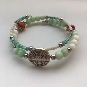 Handmade wrap bracelet. Cute beach colored beads